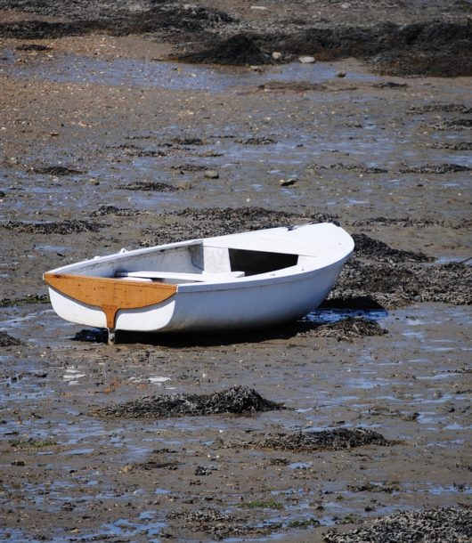 Gestrandetes Ruderboot